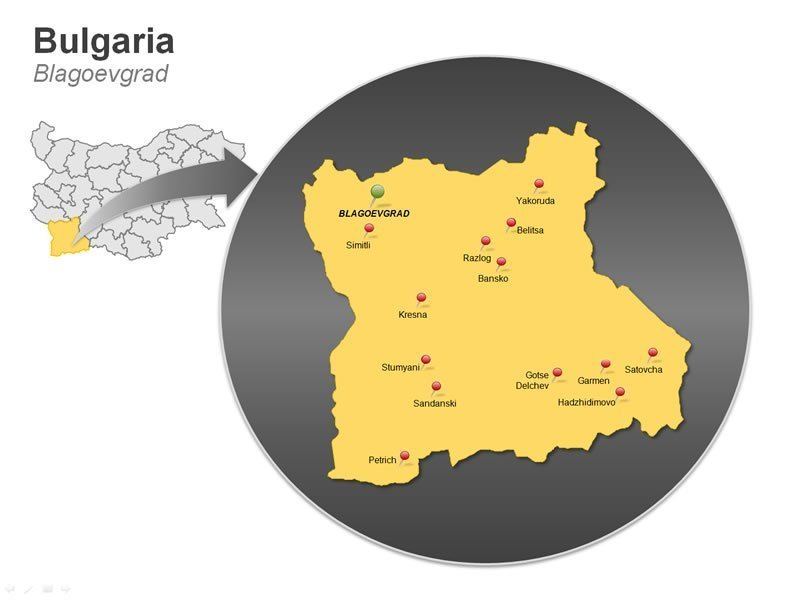 PPT Map of Bulgaria - Blagoevgrad