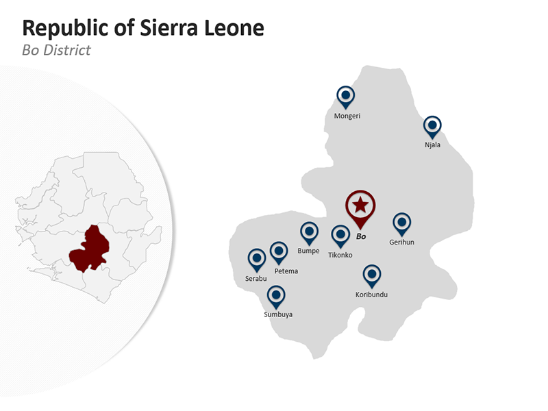 Bo District - Republic of Sierra Leone Map - Editable PPT Map
