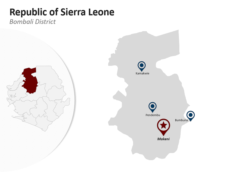 Editable PPT Map - Republic of Sierra Leone - Bombali District