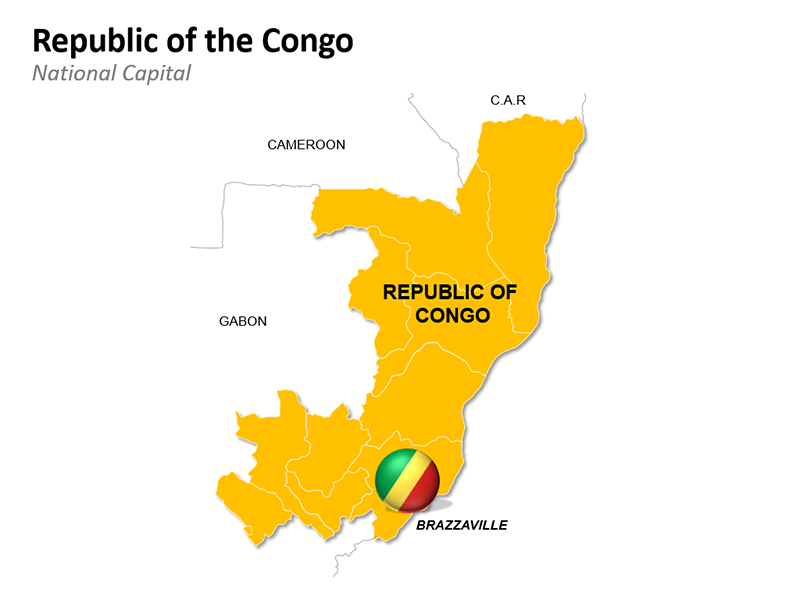 Republic of the Congo with National Capital Brazzaville - Editable PowerPoint Slide