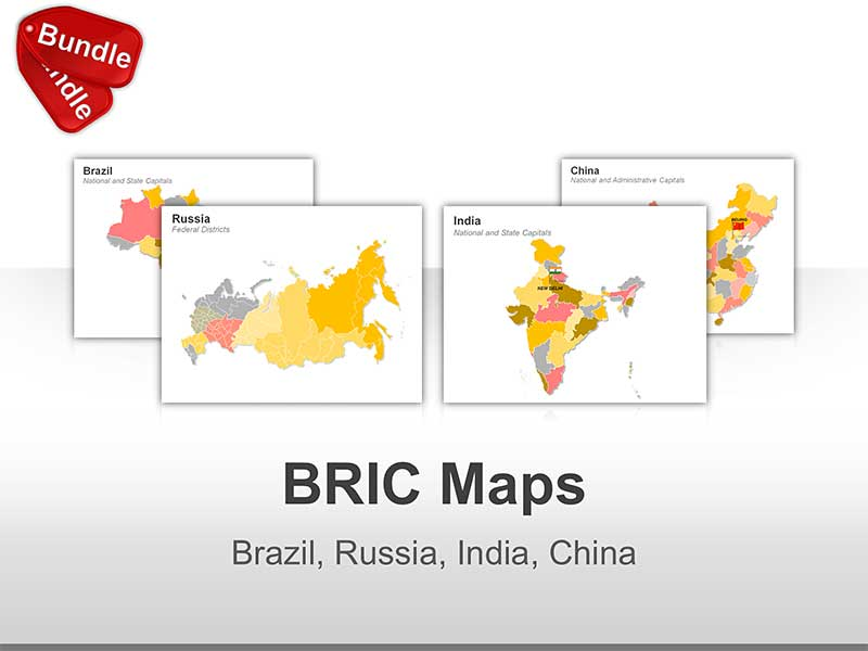 Editable PowerPoint Maps - BRIC (Brazil, Russia, India, China)