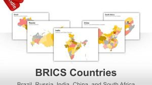 Editable PowerPoint Maps -  BRICS (Brazil, Russia, India, China and South Africa)