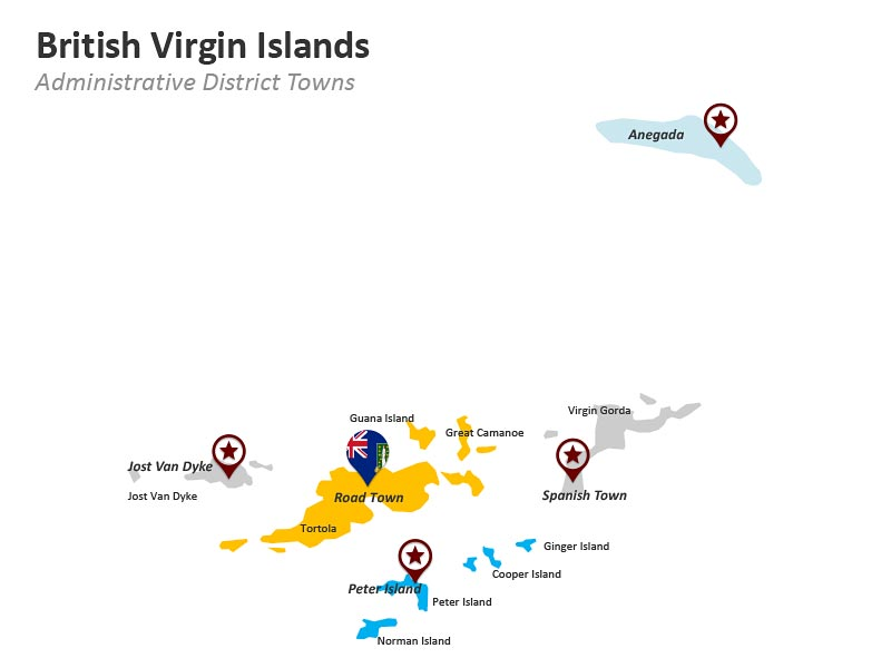 British Virgin Islands Administrative District Towns PPT Map