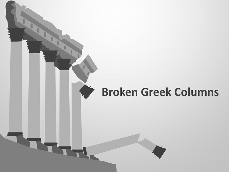 Broken Greek Columns - Editable PowerPoint Presentation