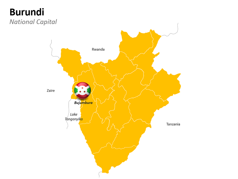 Burundi Map with National Capital - Editable PowerPoint Slide