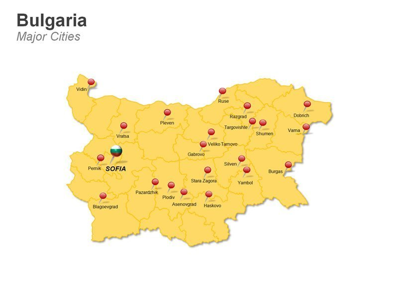 Bulgaria Cities Map PPT