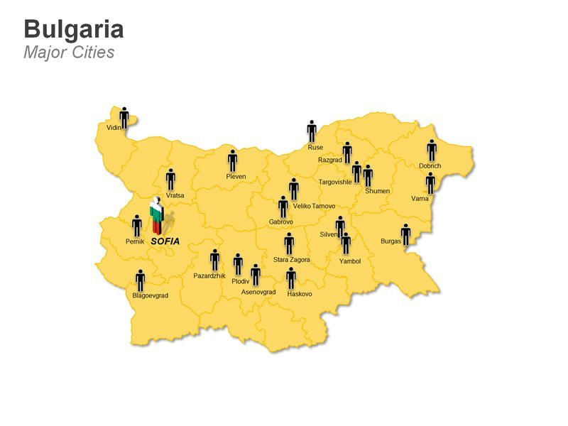 Density Population Cities Map of Bulgaria