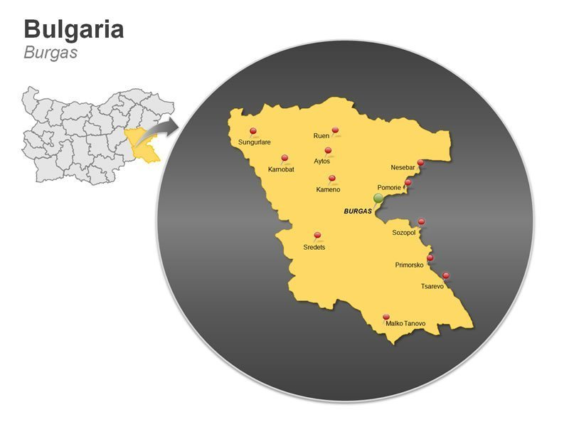 Map of Bulgaria PowerPoint - Burgas