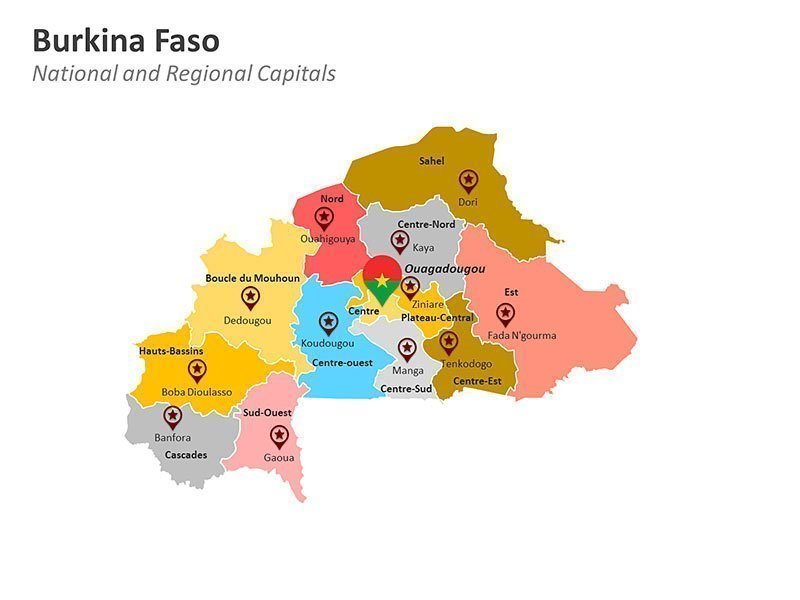 Burkina Faso with Regions Map of PPT Presentation