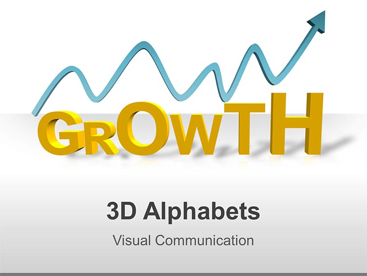 Business Graphics - PPT 3D Alphabets and Graphs-GROWTH Spelling