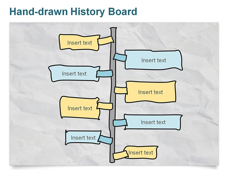 Editable PowerPoint Slides on Hand-drawn Business History Timeline Diagram Vertical Pillar
