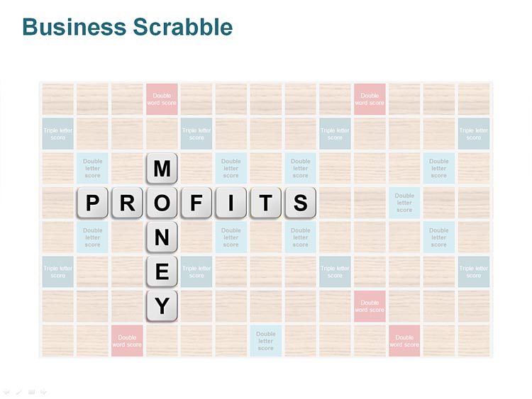 Editable PowerPoint Illustration - Scrabble for Business Presentations