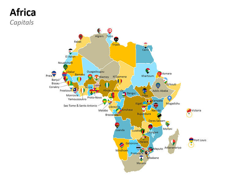 Map of Africa Countries - Editable PPT Slide