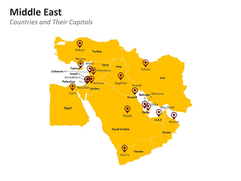 Middle East and their Countries PPT Map