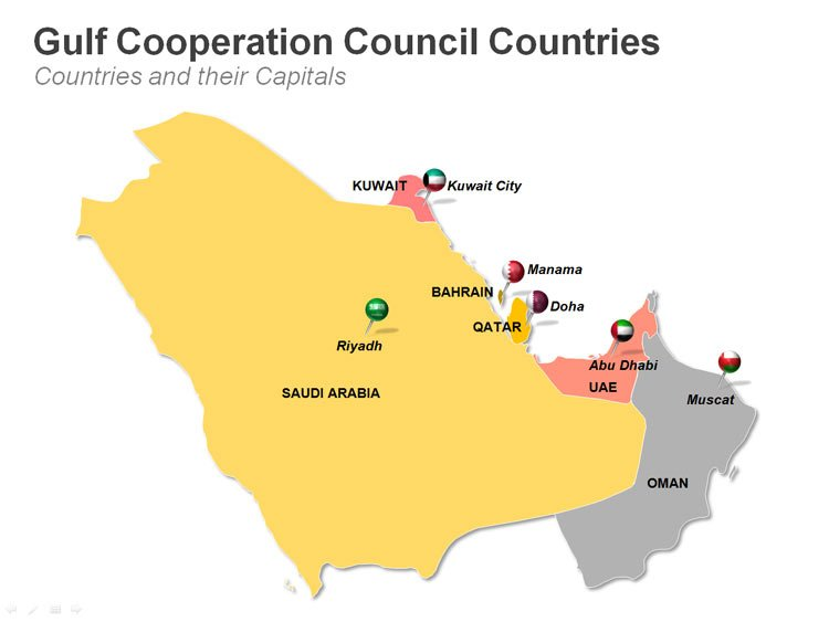 Editable Gulf Countries Council (GCC) Political Map PPT