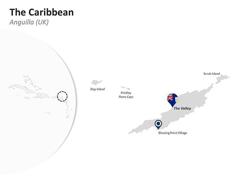 Editable PPT Slide of Map of Anguilla (UK) in The Caribbean