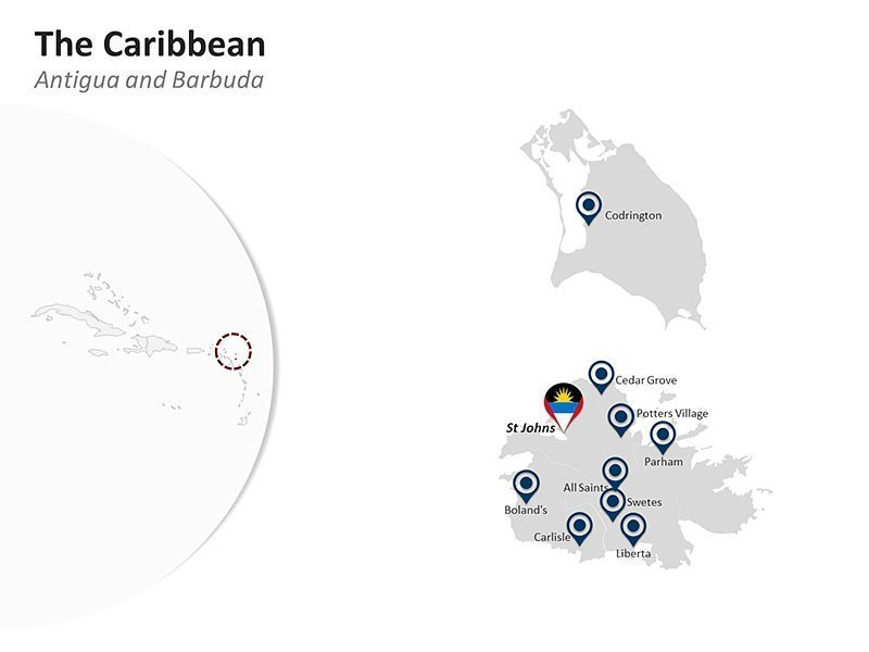 Editable PPT Template of The Caribbean Country Map of Antigua & Barbidua