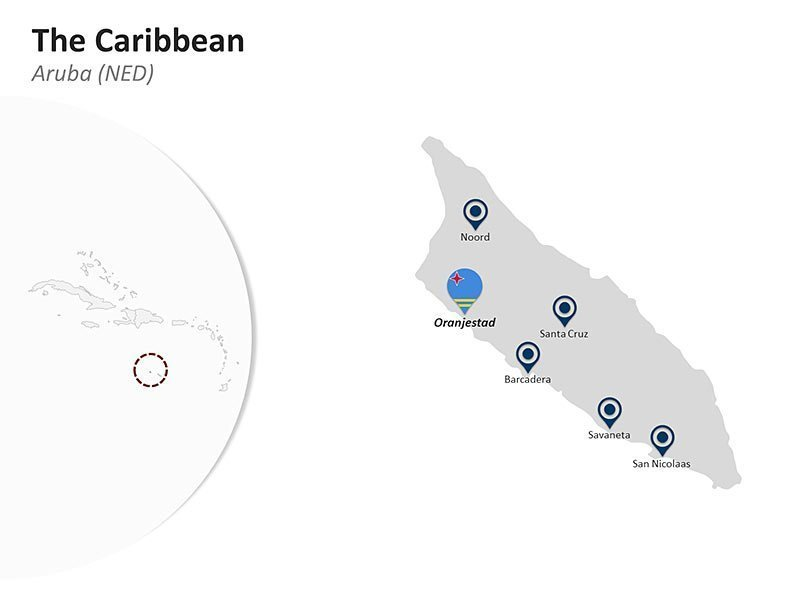 Editable PPT Template of The Caribbean Country Map of Aruba (NED)