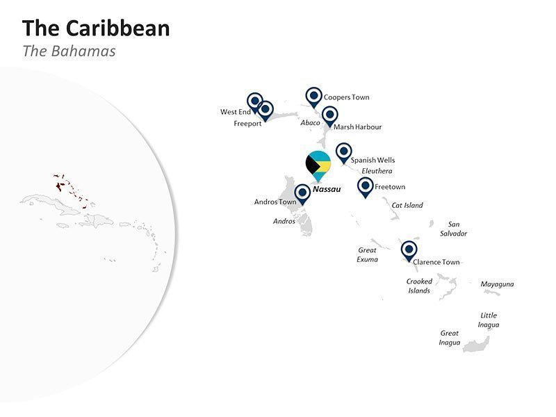 Editable PPT Slide of Map of The Bahamas in The Caribbean