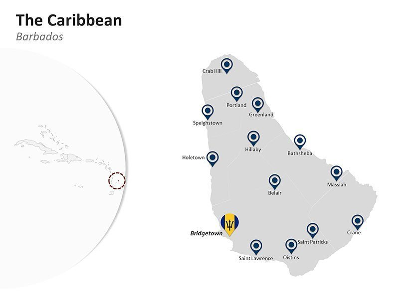 Editable PowerPoint Map Template of Major Cities of Barbados in The Caribbean