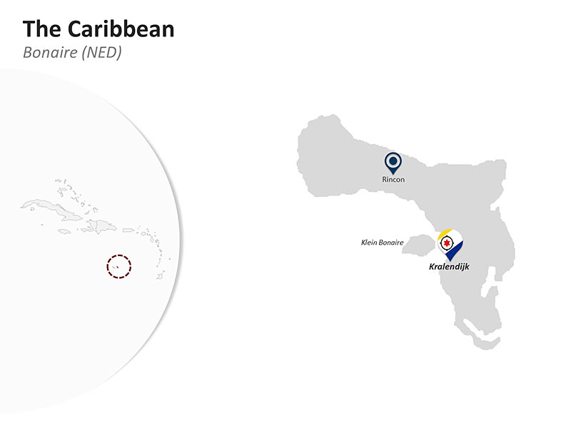 Editable PPT Template of the Caribbean Country Map of Bonaire