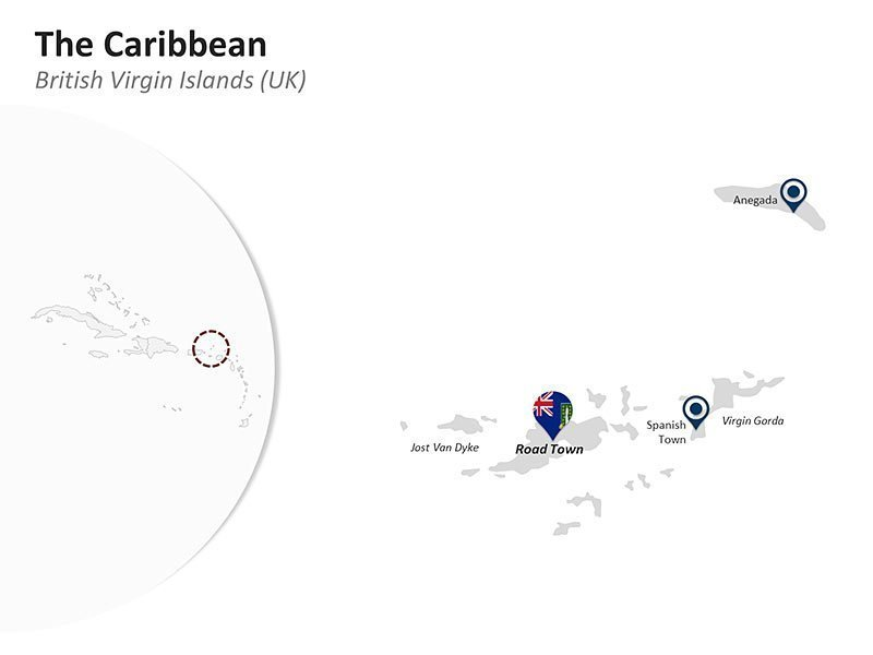Editable PPT Template of the Caribbean Country Map of British Virgin Islands