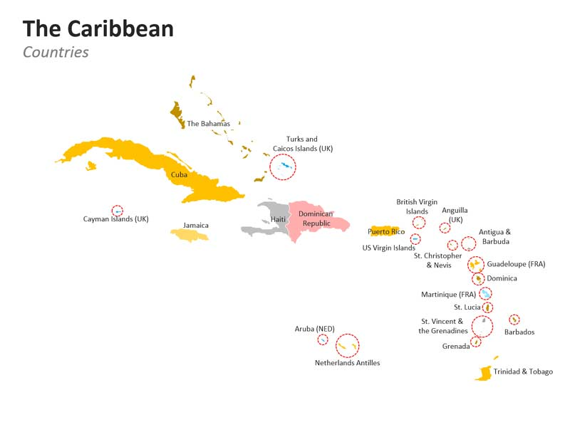 Caribbean Countries PowerPoint Map