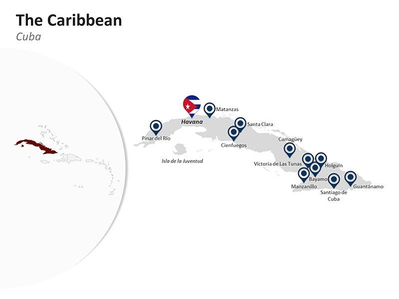 Editable PPT Template of The Caribbean Country Map of Cuba