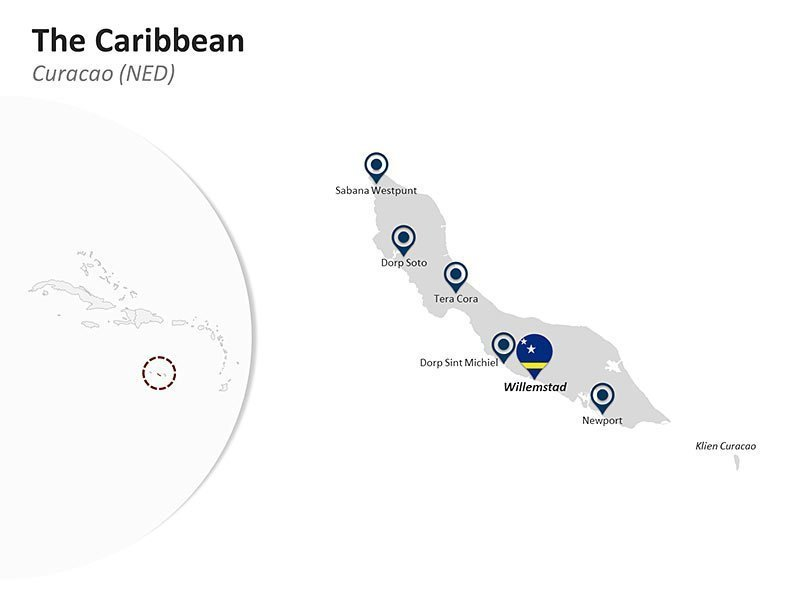 Editable PPT Slide of Map of Curacao in The Caribbean