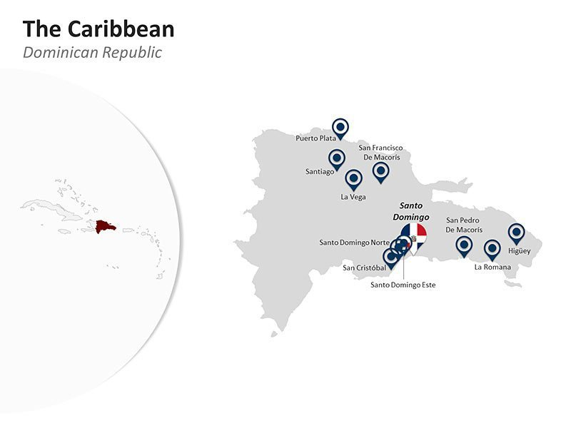 Editable PPT Slide of Map of Dominican Republic in The Caribbean