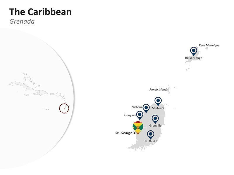 Editable PPT Template of The Caribbean Country Map - Grenada