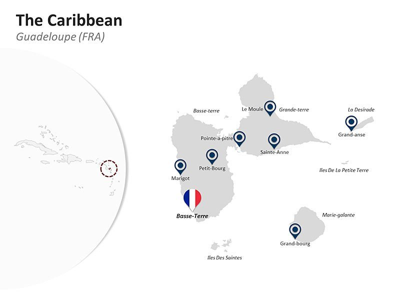 Editable PPT Template of the Caribbean Country Map of Guadeloupe