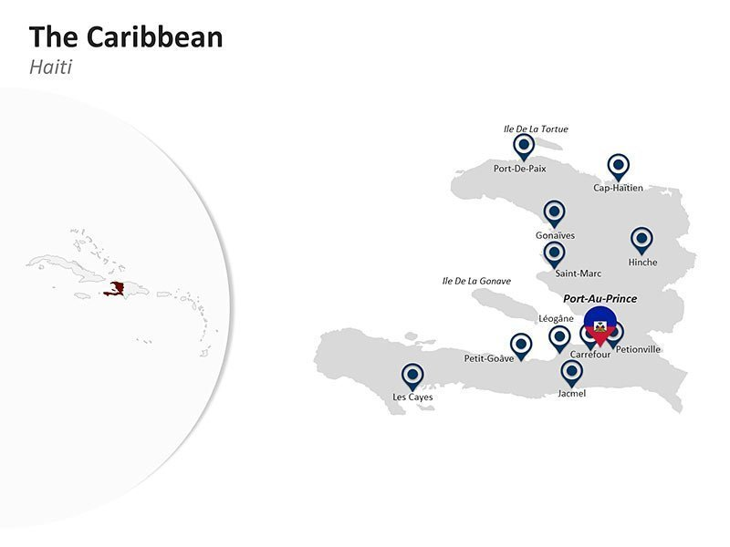 Editable Presentation Slide of Map of Haiti in The Caribbean