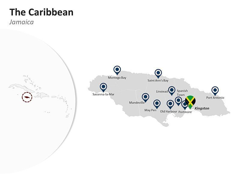 Editable PPT Template of The Caribbean Country Map of Jamaica