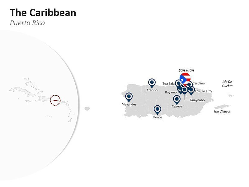 Editable PPT Template of The Caribbean Country Map - Puerto Rico
