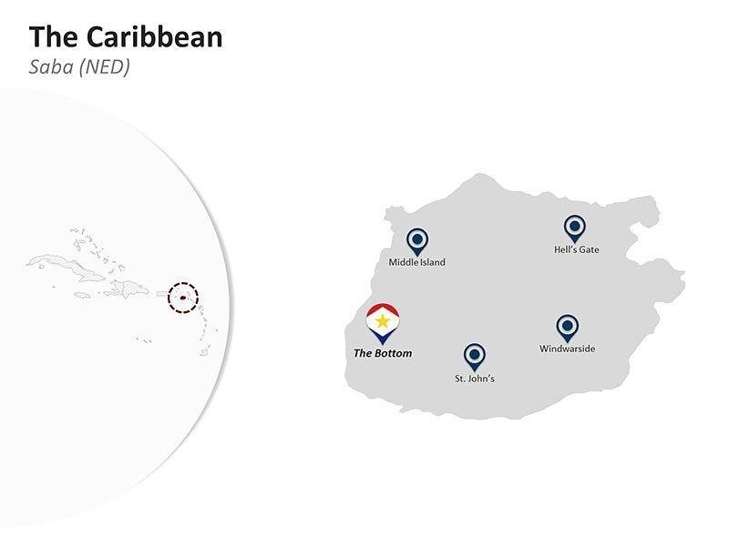 Editable PPT Slide of Map of Saba (NED) in The Caribbean