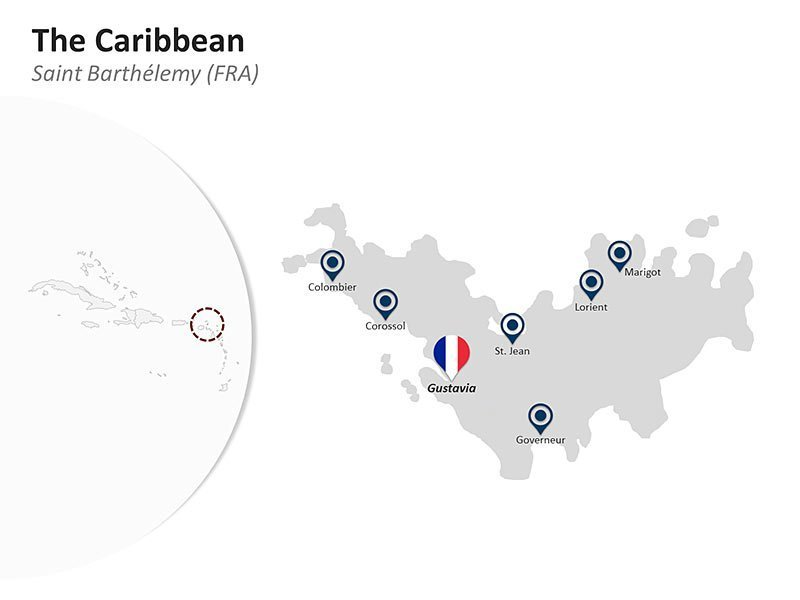 Editable PPT Template of The Caribbean Country Map of Saint Barthelemy (FRA)