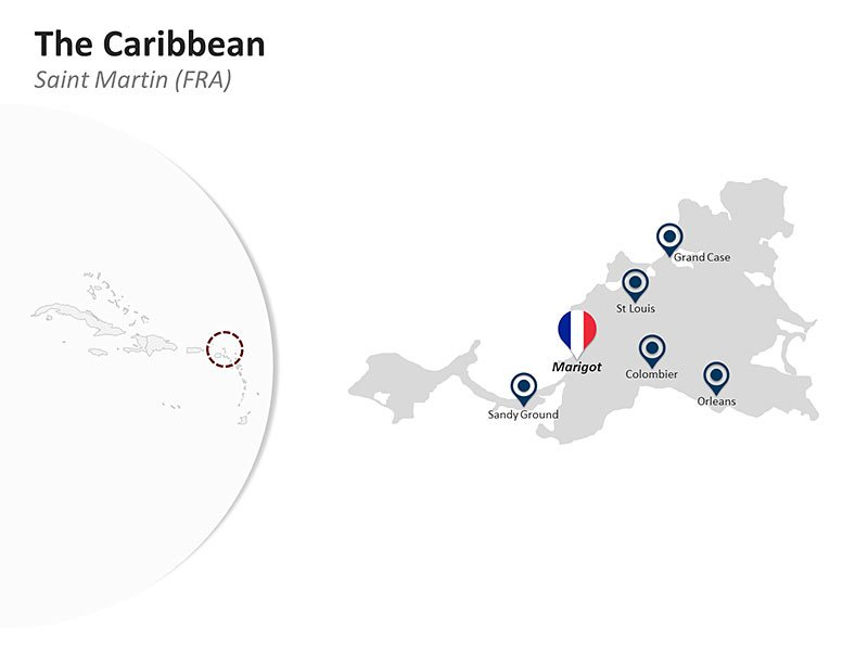 Editable PPT Slide of Map of Saint Martin (FRA) in The Caribbean