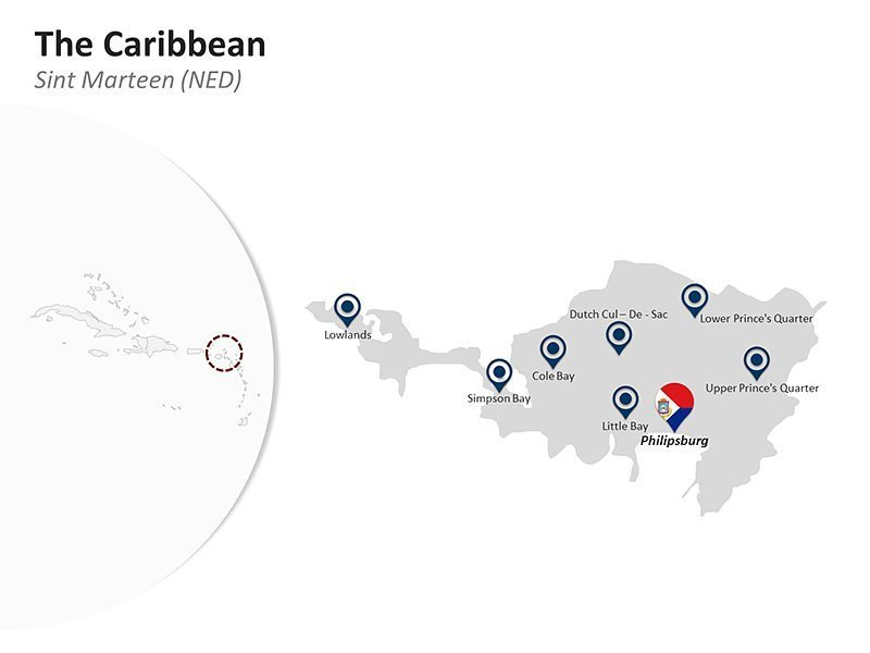 Editable PPT Template of The Caribbean Country Map - Sint Marteen (NED)