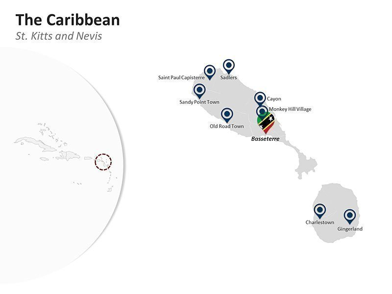Editable PowerPoint Slide of Map of St. Kitts & Nevis in the Caribbean
