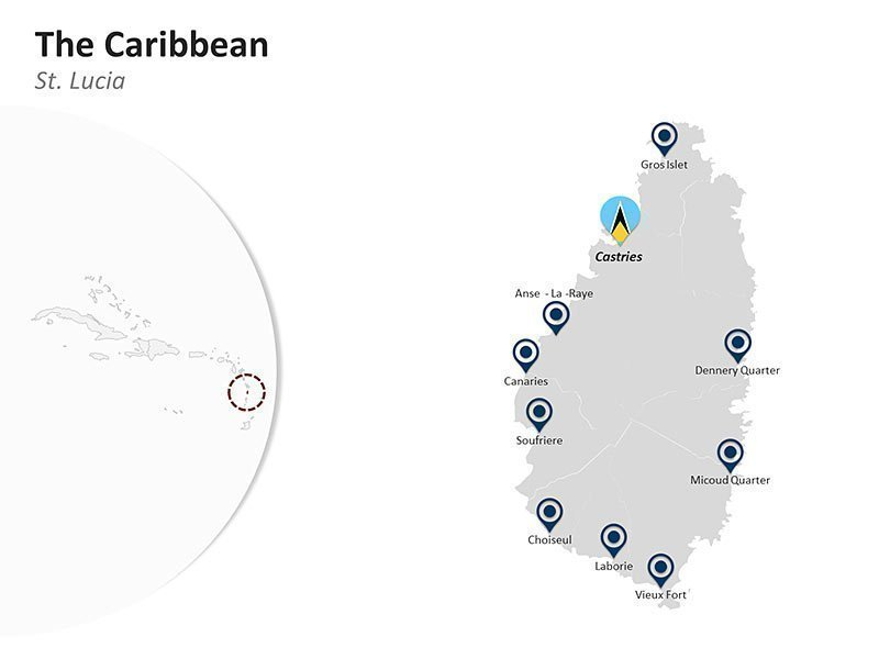 Editable PPT Slide of Map of St. Lucia in The Caribbean