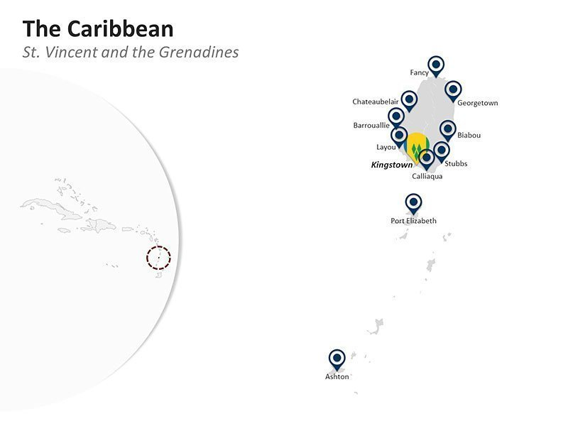 Editable PPT Template of Map of St. Vincent & the Grenadines in the Caribbean
