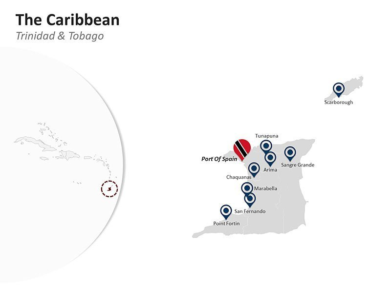 Editable PPT Template of the Caribbean Country Map of Trinidad & Tobago