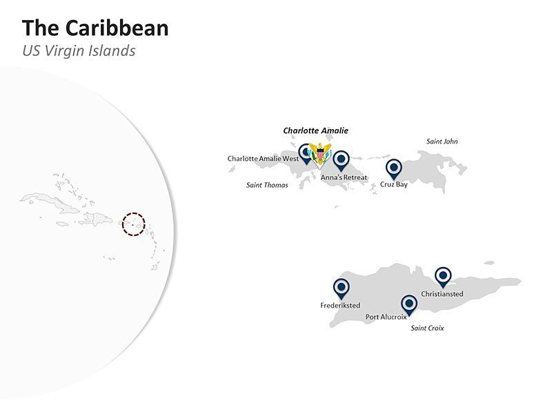 Editable PPT Template of the Caribbean Country Map of US Virgin Islands