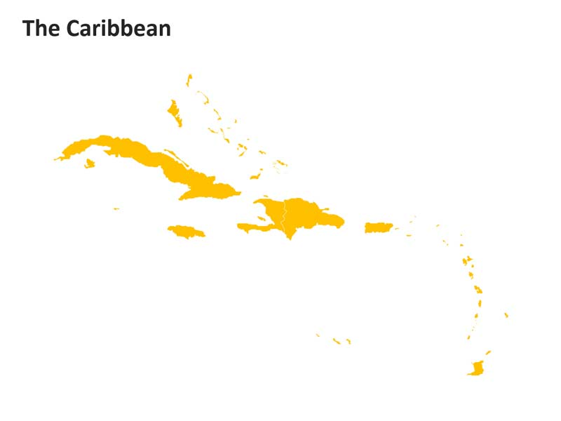 Caribbean Outline PPT Map