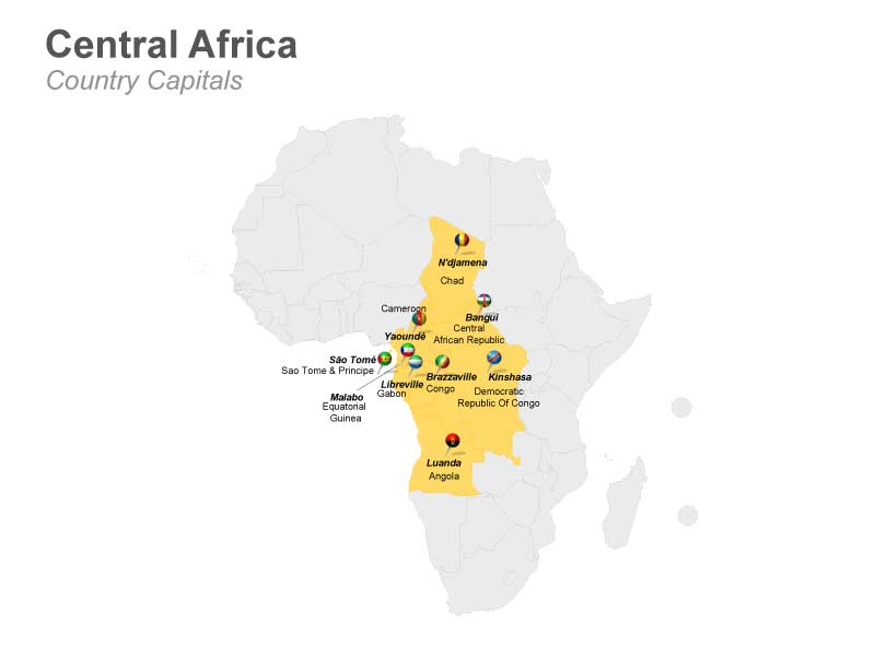 Central Africa with Country Capitals Map PowerPoint Slide