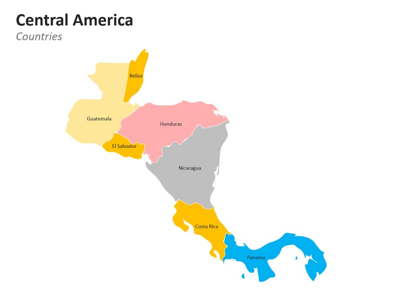 Central American Countries Editable PPT Map