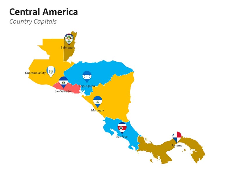 Central America with Country and Capitals Map - PowerPoint Slide
