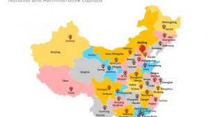 Map Showing National and Province Capitals of China and Taiwan
