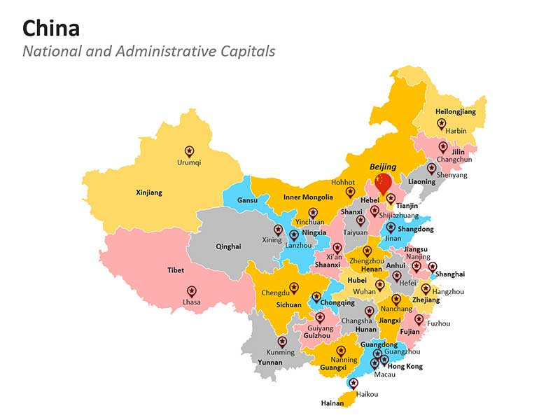 China National and Administrative Capitals PPT Map